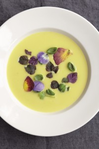 Jerusalem Artichoke Soup with Saffron & Herbs & Flowers